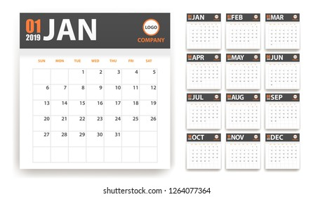 2019 calendar in paper stickers with shadow style. Blue and orange. Event planner. All size