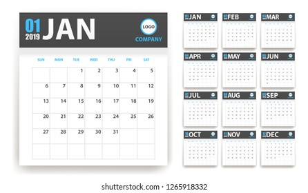 2019 calendar in paper stickers with shadow style. Grey and cyan. Event planner. All size