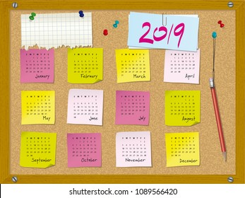2019 calendar. Week starts on Sunday. Cork board with notes and pushpins.