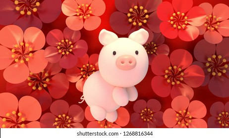 2019 Chinese New Year holiday's greetings. Year of the Pig. Beautiful red floral pattern background. 3d rendering picture.