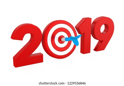 2019 with Darts Target Isolated. 3D rendering