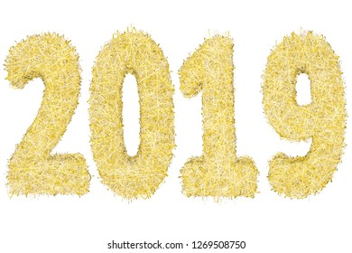 2019 digits composed of golden and silver stripes isolated on white background. High resolution 3D image