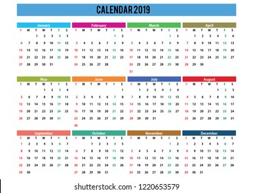 2019 English generic calendar A3, easy cropping for the busy designers who want to create their own designs, agendas, datebooks.