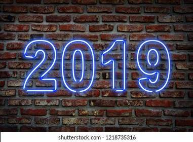 2019. Glowing neon jazz sing on a brick wall.