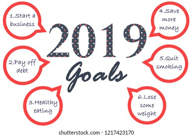 2019 goals list to achieve in bubble. New year's resolution.