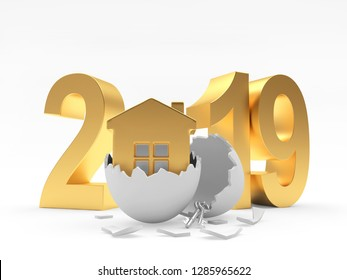2019 golden number and house icon inside a  broken Easter egg isolated on white. 3D illustration