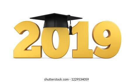 2019 Graduation Cap Isolated. 3D rendering