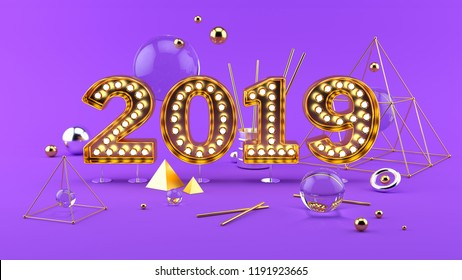 2019 Happy New Year 3D composition. Abstract simple set with 2019 golden numbers bright spheres and other shapes on purple background. Front view beautiful trendy installation. 3d rendering.