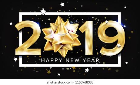 2019 Happy New Year Background. Holiday Of 2019 Year. Premium Luxury. Christmas. Illustration