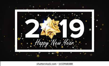 2019 Happy New Year Background. Decoration Element. Beautiful Golden Gift Bow. Christmas. Illustration