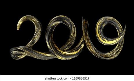 2019 Happy New Year background. Brushstroke text 2019. 3d render illustration