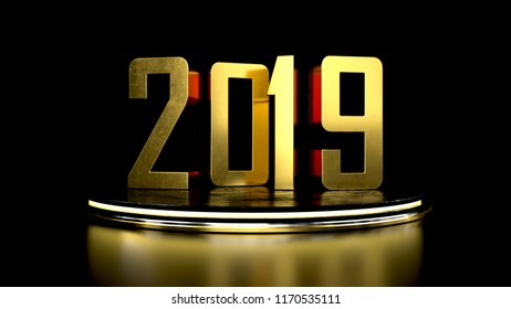 2019 Happy new year background. Golden 3d typography 2019. 3d render illustration