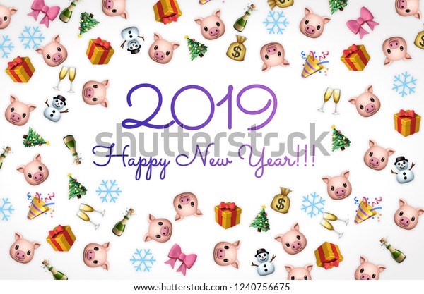 2019 Happy New Year Background Pig Stock Illustration 1240756675