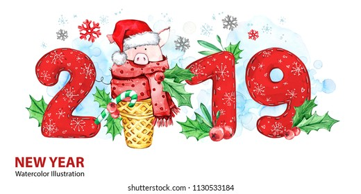 2019 Happy New Year banner. Cute pig with Santa hat in waffle cone and numbers. Greeting watercolor illustration. Symbol of winter holidays. Zodiac sign. Perfect for calendar and celebration cards.