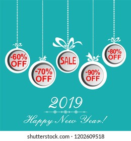 2019 Happy New Year. Christmas sale label.  Illustration