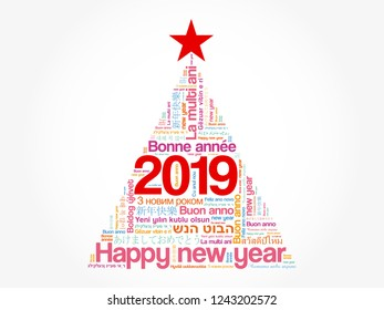 2019 Happy New Year in different languages, celebration word cloud greeting card in the shape of a christmas tree