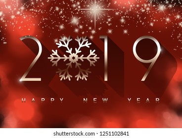 2019 - happy new year gold letters on red background, gold snowflake, shine, happy new year.