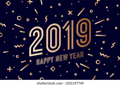 2019, Happy New Year, gold. Greeting card with golden text Happy New Year 2019. Memphis geometric gold style for Happy New Year or Merry Christmas. Background, banner, poster. Illustration