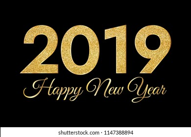 2019 Happy New Year. Golden numbers on dark background. New Year 2019 greeting card. Raster version.