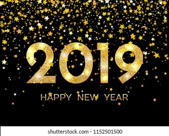 2019 happy new year golden stars on dark background new year 2019 greeting card
