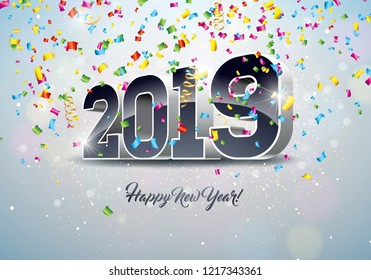 2019 Happy New Year illustration with 3d number and falling confetti on white background. Holiday design for flyer, greeting card, banner, celebration poster, party invitation or calendar . JPG