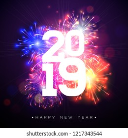 2019 Happy New Year illustration with fireworks and number on dark background. Holiday design for flyer, greeting card, banner, celebration poster, party invitation or calendar . JPG version.