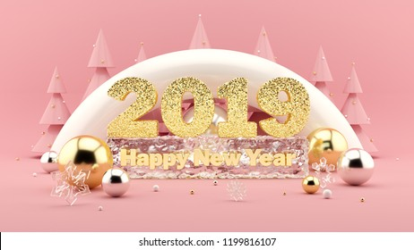 2019 Happy New Year Wish 3D composition in millennial pink colors. Large sparkling gold numbers 2019 and Happy New Year's Wish frozen in ice. Christmas trees with decorations around. 3d rendering.
