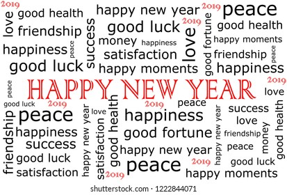 2019 Happy new Year wordcloud - illustration