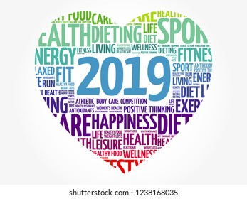 2019 heart sport word cloud collage, health concept background