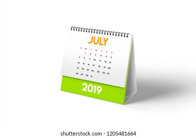 2019 Monthly desktop calendar with fresh colors. In white background with smooth shadow. 3D rendering