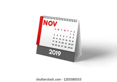 2019 Monthly desktop calendar with grey and red colors. In white background with smooth shadow. Modern and stylish look.