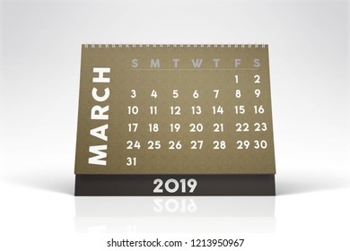 2019 Monthly desktop calendar with pastel colors. In white background with smooth shadow and refkection. Modern and stylish look.