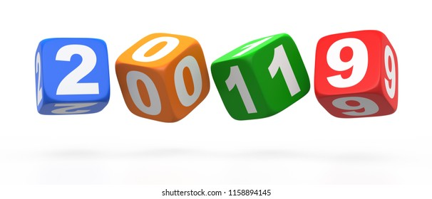 2019 Multicolor Dice. Isolated on white background. 3D rendering