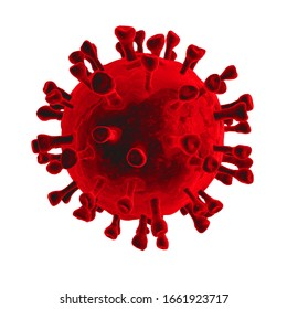 2019 nCov-Corona virus cell outbreak and coronaviruses influenza red background concept dangerous flu shot pandemic medical health risk with disease.3D rendering illustration