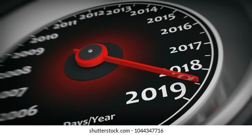 2019 new year. Car speedometer gauge closeup detail, needle on 2019. 3d illustration