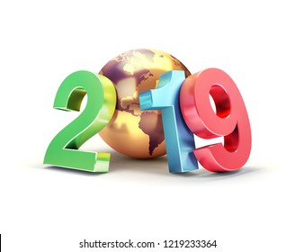 2019 New Year colorful date number composed with a gold planet earth, focused on America, isolated on white - 3D illustration