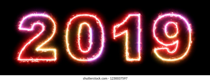 2019 new year - colorful glowing outline symbol on dark background