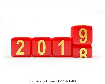 2019 New Year concept. Red cubes 2018 changing for 2019. 3D illustration
