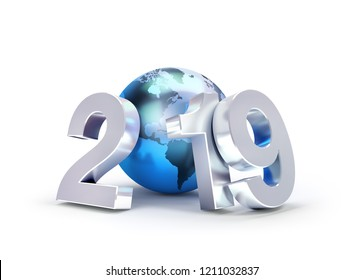 2019 New Year date number composed with a blue planet earth, focused on America, isolated on white - 3D illustration
