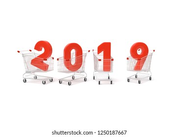 2019 new year number with shopping cart on white background. 3D illustration