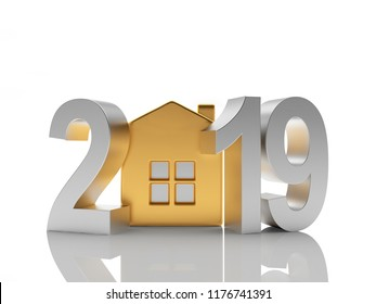 2019 New Year silver numbers and golden house icon on white. 3D illustration