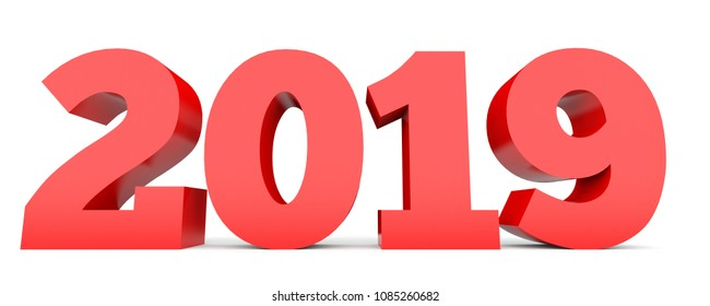 2019 New Year. Text. 3D illustration.