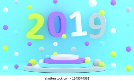 2019 New Year Wallpaper 3d Background Abstract Shapes Of Earth Pig