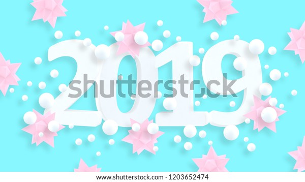 2019 New Year Wallpaper 3d Background Stock Illustration