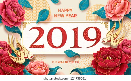 2019 peony new year banner with colorful flowers and golden swallow paper art design