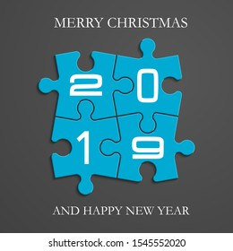 2019 Puzzle banner presentation. Abstract puzzle happy new year infographic template. 4 pieces puzzles merry christmas illustration. Section 2019 New Year compare service banner background