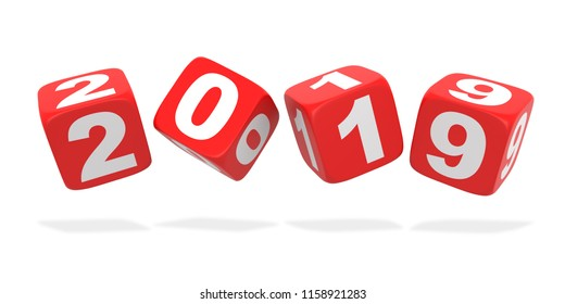2019 Red Dice. Isolated on white background. 3D rendering