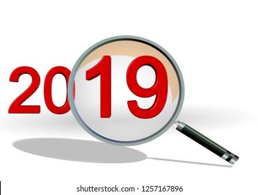 2019 review focus on details text numbers len plan - 3d rendering
