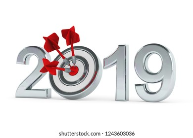 2019 with a target and three red darts hitting the center (3D Rendering)