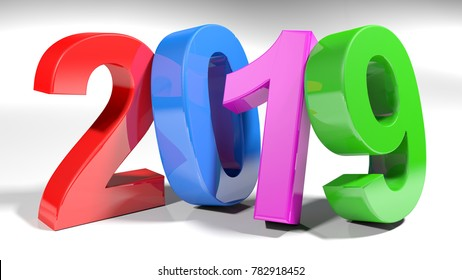 2019 is written with 3D colorful numbers standing on a white surface - 3D rendering illustration